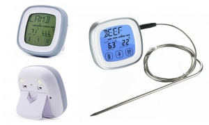 Silver digital cooking thermometer