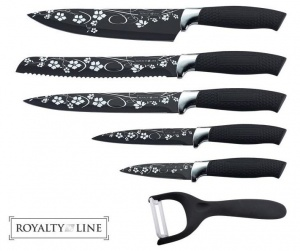 Royalty Line 5 Pcs Non-Stick Coating Knife Black Set and Flowers Details