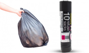 50L Extra Strong Drawstring Refuse Bin Bags Pack of 10