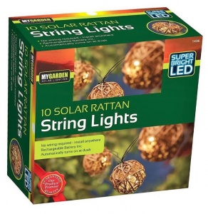 10 Solar Rattan Super Bright Led String Lights
