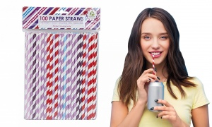 Pack Of 100 Colour Paper Straws Assorted
