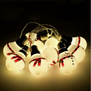 10 LED B/O Snowman Bulb String Lights (89420)