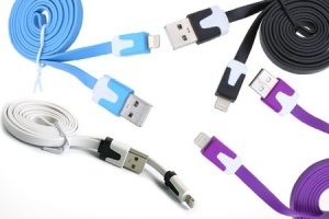 1m Flat Coloured iPhone Charge and Sync Cable