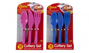 18Pc Deluxe Plastic Cutlery On PVC Ctd Tie On Card