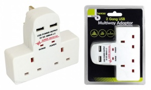 Benross 2-Way Wall Adaptor With USB Ports