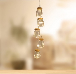 Vintage Jars String Lights with 15 Warm White LED Copper Lights