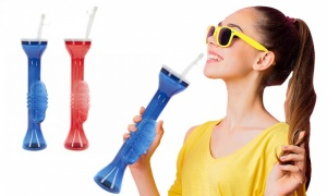 Set Of 2 Assorted Trumpet Plastic Slush Cup With Straw