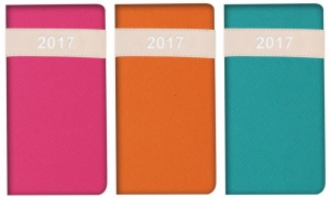 2017 Week To View Vibrant Leatherette with Stiched Slim Diary