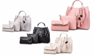 Women's 3Pcs Concise Tassel Soft PU Handbags