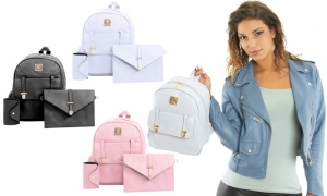 3 Pcs Women PU Leather Backpack