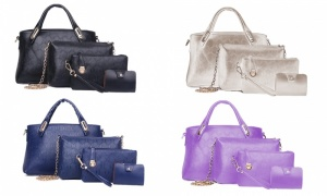 4 Pieces Women Leather Bag