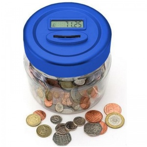 Digital Coin Counting Money Jar- Blue (BB-MJ100B)