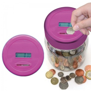 Digital Coin Counting Money Jar- Pink (BB-MJ100P)