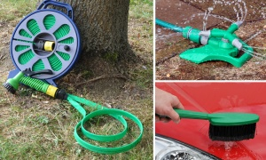 15m Kink Resistant Flat Hose Set with Sprinkler and Car Brush