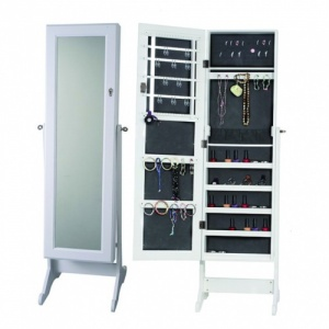 Floor Standing Mirror Jewelry Cabinet - Assorted Colours