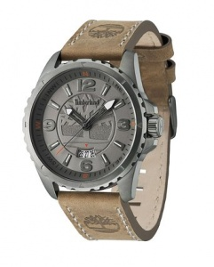 Timberland Walden Men's Quartz Watch with Grey Dial Analogue Display and Brown Leather Strap