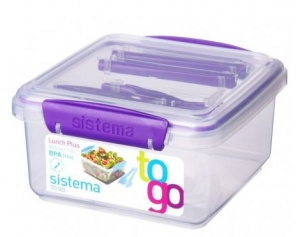Sistema Lunch Plus Lunch Box with Coloured Clips