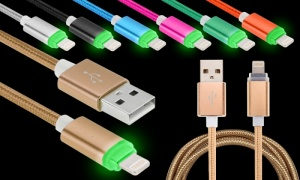 1m Braided Charge & Sync Lightning Cable with Led Indicator Light