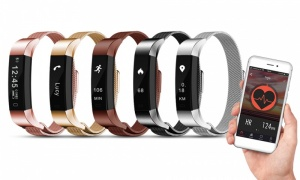AQ115 Fitness Tracker with Metal Mash Strap