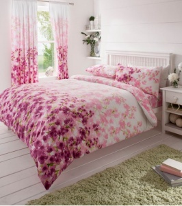 King 8pc Bed Sets with Curtains and Tie Backs - Blossom