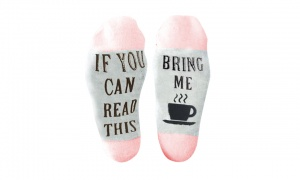 Flo Slogan Socks ''if you can read this bring me a cup of TEA''