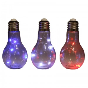 3ASST CLEAR GIANT DECORATIVE LIGHT BULB WITH 5 LED'S