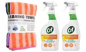 CIF Nature's Recipe Kitchen Spray With Tea Towel Set