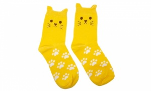 Flo Women's Cat Socks with Printed Paws Pack of 5