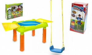 Childs Swing Seat With Rope And Hooks and Sand water Play Table