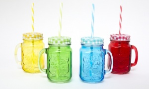 Mason Jar with Lid and Straw