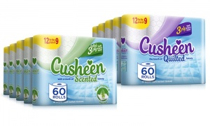 Cusheen Quilted Luxury Scented 3 Ply Toilet Tissue Paper white and Aloe