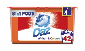 Daz 3in1 Detergent Capsule Pods for Whites & Colours, Pack of 3, 42­ Washes