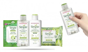 Simple Kind To Skin (Eyes Remover125ml + Rich Moistiriser125ml +  Biodegradable wipes + De-Stress Sheet Mask)