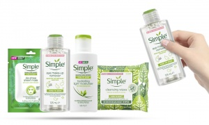Simple Kind To Skin (Eyes Remover125ml + Light Moistiriser125ml +  Biodegradable wipes + De-Stress Sheet Mask)