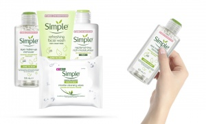 Simple Kind To Skin (Eyes Remover125ml + Facial Wash Gel 150ml + Micellar Cleansing Wipesx25 + Replenishing Rich Moisturiser 125ml)