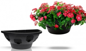 Easy Bloom Hanging Wall Basket Black