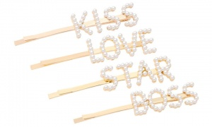 Envie Women's Pearl Words Letters Hairpin