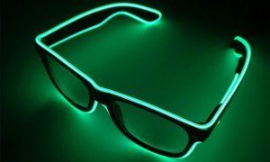 FLO LED Luminous Sunglasses, Black with Green Light Colour