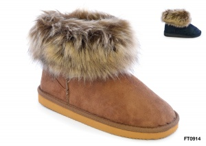 Faux Fur Cuff Short Boot Available in Black or Chestnut
