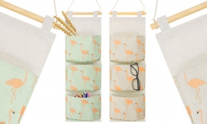 Flamingo Pattern   Wall Hanging Storage Bags With 3 Pockets