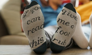 Flo Slogan Socks ''if you can read this give me a foot rub''