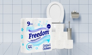 45, 90, or 135 Freedom Toilet Rolls 3Ply Tissue Papers with Cotton & Cashmere
