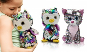 PMS 10'' Glitzies Sitting Owl & Cat Magic Sequin Plush Assorted