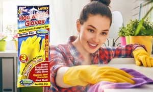 3 Pairs Household Latex Gloves -One Size