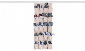 20-Pocket Over-Door Shoe Organiser - cream