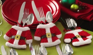 SET OF 2 LUXURY CHRISTMAS CUTLERY HOLDERS ON BACKING CRD