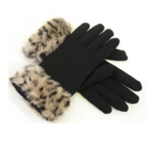 Ladies Gloves with Leopard Print Faux Fur Cuff