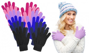 Ladies Solid Colour Magic Gloves Assorted