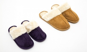 Ladies Faux Suede Plush Mule Slipper