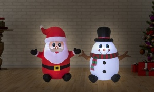 120cm Inflatable Snowman and Father Xmas